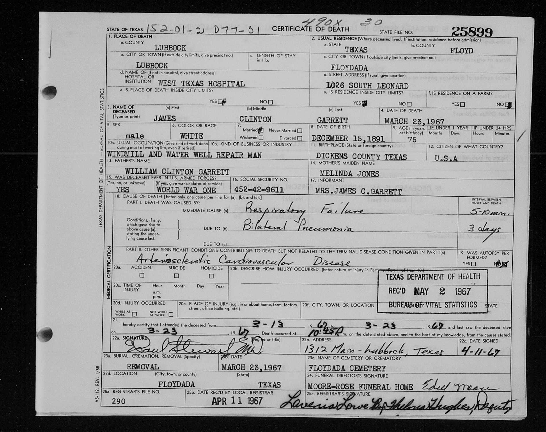 James Clinton Garrett Death Certificate Harrison